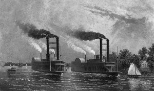 Paddle-Boats-On-The-Mississippi-Antique-Illustration